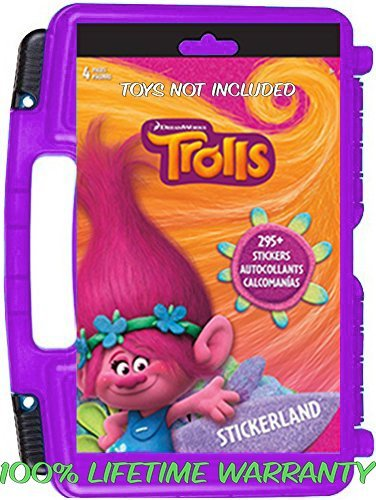 Trolls Sticker Book + Case, Toy Storage Carrying Box. Figures Playset Organizer. Accessories For Kids by (Pyjama Case)