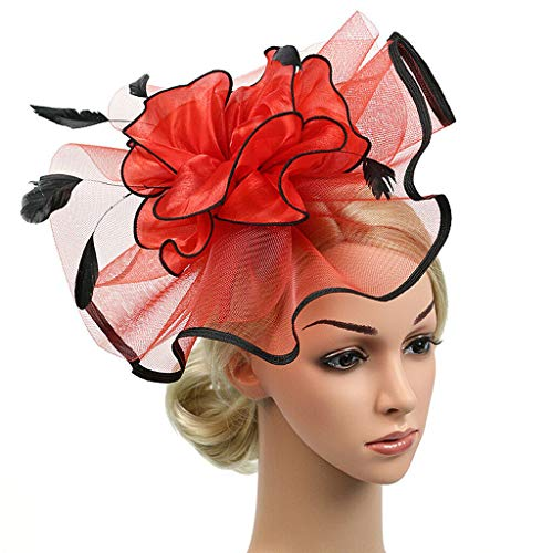 MOPOLIS Vintage Women Headwear 1920s Gatsby Veil Flower Fascinator Hairclip Headress | Color - Red