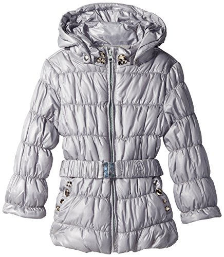 Kate Mack Little Girls' Puffer Coat with Belt and Rhinestones, Grey, 6X by Kate Mack