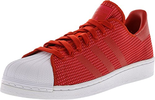 Adidas Mens Superstar Rouge / Core Rose Bask Blanc Bas Cheville Fashion Sneaker - 12m