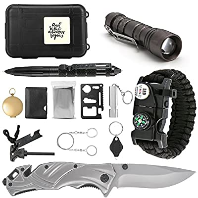SanSiDo Emergency Survival Kit Survival Gear 13 in 1 Outdoor Survival Gear Tool with Survival Bracelet, Folding Knife, Led Flashlight, Compass, Emergency Blanket, Fire Starter, Whistle, Tactical Pen by SanSiDo