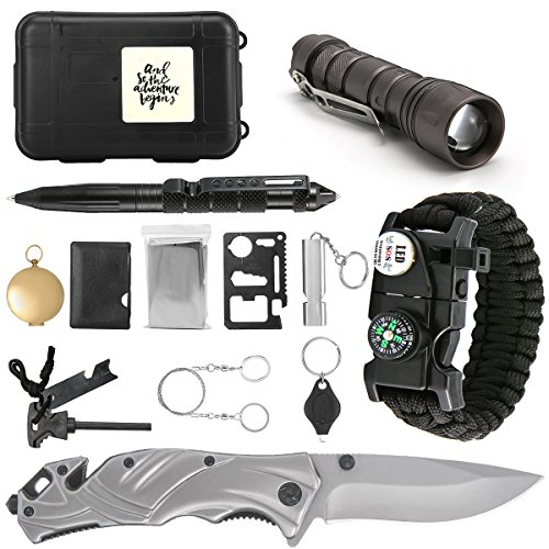 SanSiDo Emergency Survival Kit Survival Gear 13 in 1 Outdoor First Aid Kit with Survival Bracelet, Folding Knife, Led Flashlight, Compass, Emergency Blanket, Fire Starter, Whistle, Tactical (Folding Survival Knives)
