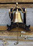 A Simpler Time Engraved Antiqued Brass Welcome Wall Bell