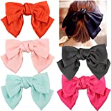 5 Pcs Large Big Huge 8'' Soft Silky Chiffon Hair Bow Clip Lolita Party Oversize Handmade Girl French Barrette Style Hair Clips