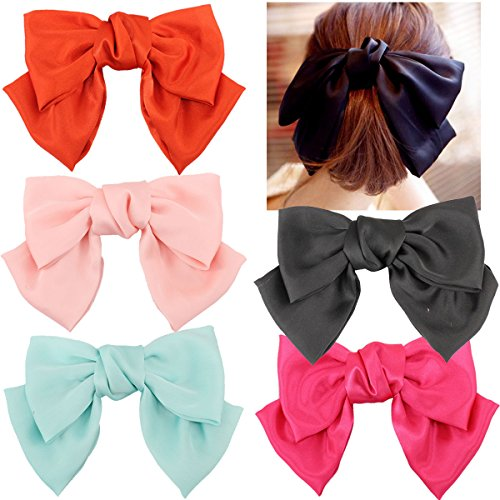 5 Pcs Large Big Huge 8'' Soft Silky Chiffon Hair Bow Clip Lolita Party Oversize Handmade Girl French Barrette Style Hair Clips by CELLOT