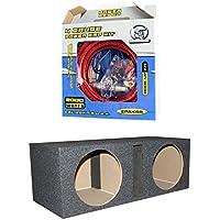 QPOWER 15 2 Speaker Subwoofer Enclosure Box + BULLZ AUDIO EPAK4R 4 GA Amp Kit