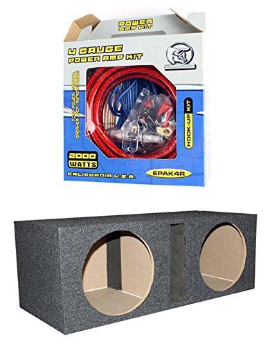 QPOWER 15″ 2 Speaker Subwoofer Enclosure Box + BULLZ AUDIO EPAK4R 4 GA Amp Kit