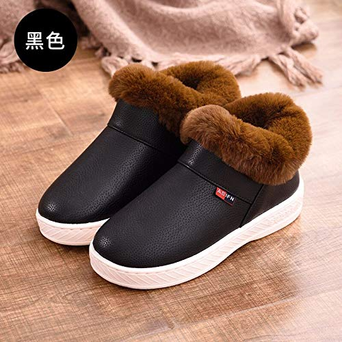 WAJFDAHGA Winter Home Non-Slip Bag with Cotton Slippers for Uomo And donna Indoor And Outdoor Couples Warm Cotton scarpe,46-47,nero Coffee Mouth