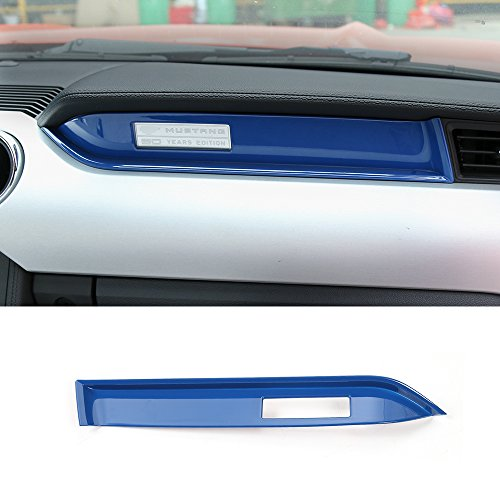 Center Trim Panel (Car co-pilot center console panel cover trim frame for Ford mustang 2015-2017 (Blue))