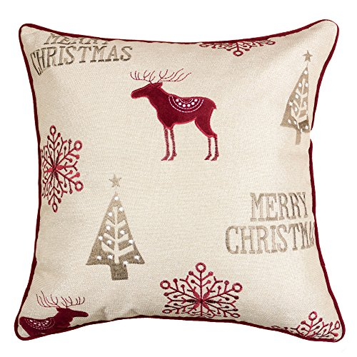 Reindeer Embroidery Design (Homey Cozy Embroidery Velvet Throw Pillow Cover, Merry Christmas Series Reindeer Tree Luxury Soft Fuzzy Cozy Warm Slik Decorative Gift Square Couch Cushion Pillow Case 20 x 20 Inch, Cover Only)