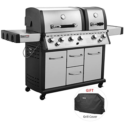 Royal Gourmet Mirage MG6001-R Two Split Lid 6-Burner Cabinet Propane Infrared Burner Gas Grill, Side Burner, 96,000 BTU,Stainless Steel