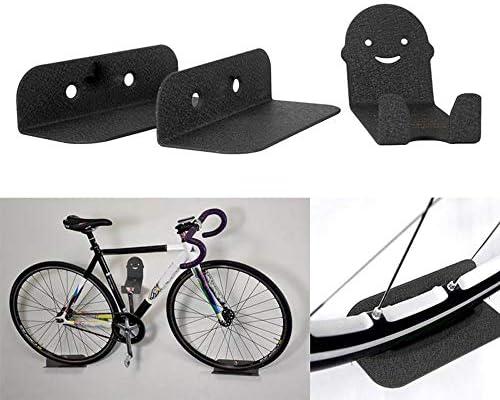 ガレージの壁自転車ホルダーラックをラック高炭素鋼の最大荷重25キロ自転車ウォールストレージを簡単にインストールします マンションスタンド (Color : Black, Size : One size)