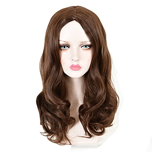 CosHouse Women Sexy Medium Length Brown Wavy Wigs Fluffy Natural Hair for Cosplay Party 22 (Coshouse Costumes)