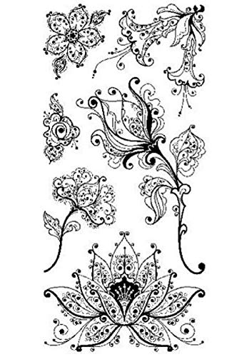 ShopForAllYou Stamping & Embossing Cling Rubber Stamp Set Artistic Whimsical Flower Garden - Stamp Artistic Rubber