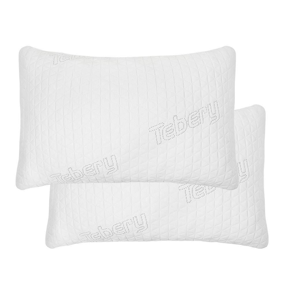 Tebery 調節可能なロフトシュレッド低刺激性メモリーフォーム枕 洗濯可能な冷却竹カバー クイーンサイズ 2個パック B07Q8G8D3M