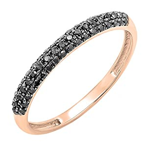 0.25 Carat (ctw) 14k Rose Gold Round Black Diamond Ladies Pave Wedding Band Ring 1/4 CT (Size 8.5)