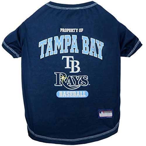 (MLB Tampa Bay Rays Dog T-Shirt, X-Small. - Licensed Shirt for Pets Team Colored with Team Logos)