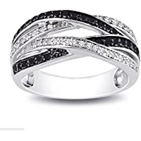 siamsmilethailandshop Infinity 925 Silver Jewelry Black & White Sapphire Women Wedding Ring Size 6-10 (6)