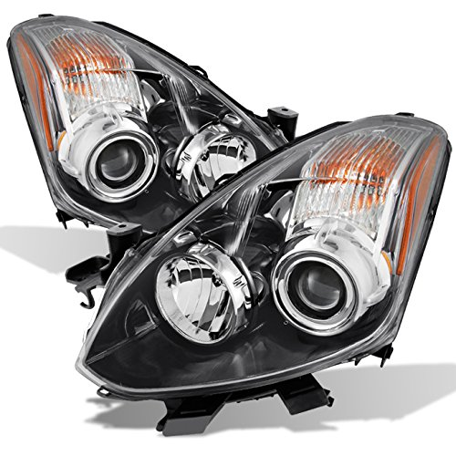 For 2010 2011 2012 2013 Altima 2 Door Coupe Black Halogen Type Left & Right Side Projector Headlights