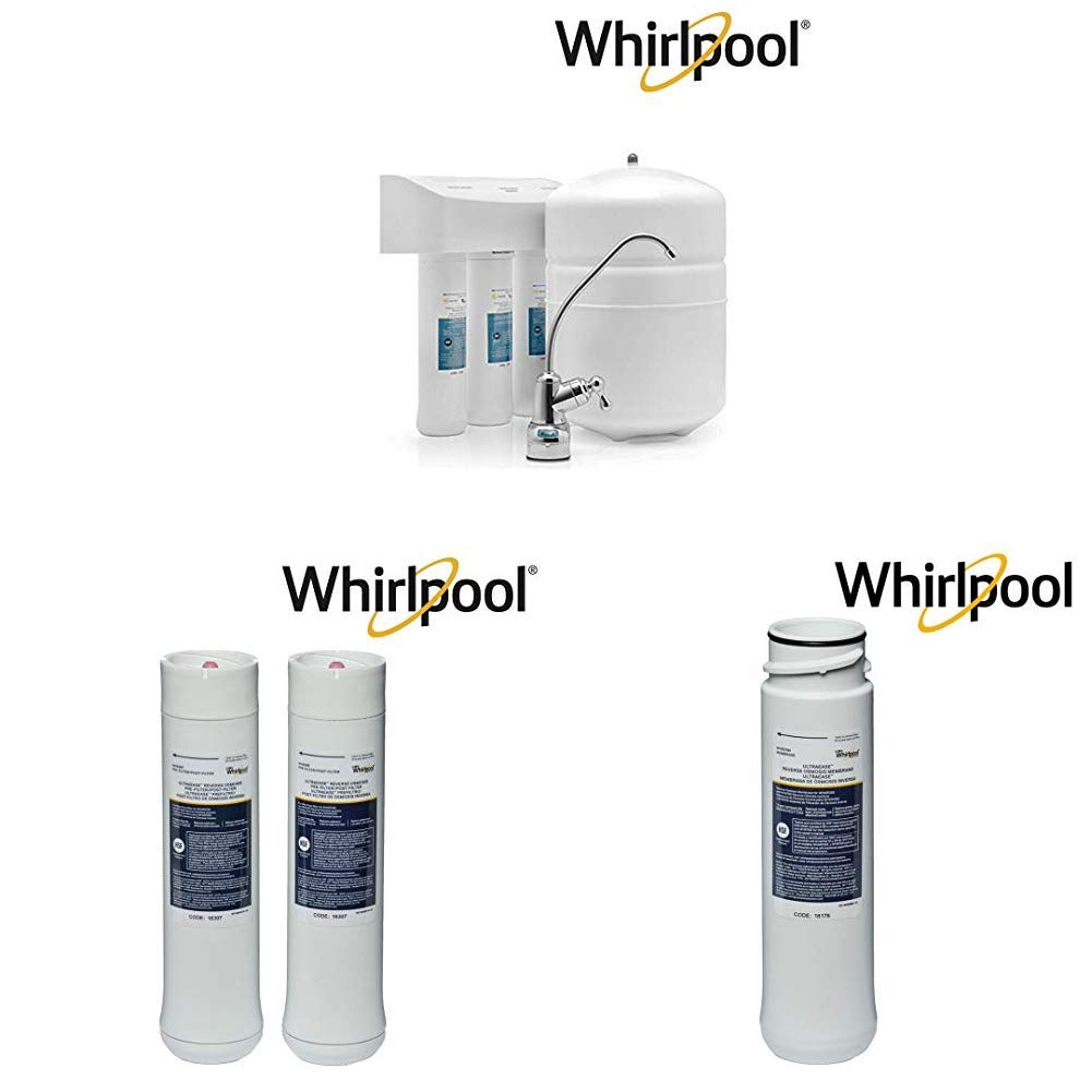 Whirlpool WHER25 Reverse Osmosis (RO) Filtration System With Pre/Post Replacement Filters & Replacement Membrane