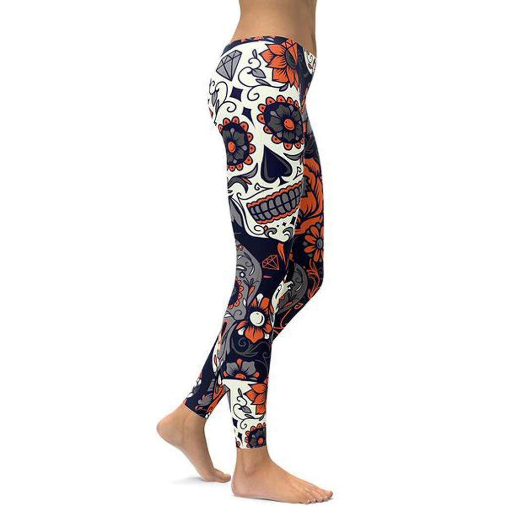 Nuofengkudu Mujer Calavera Estampados Leggings Elasticos Mallas