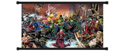 Justice League Comic Fabric Wall Scroll Poster (32 x 18) Inches (Justice League Fabric Poster)