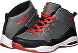 AND1 Boys' Breakout Sneaker, Castle Rock/Black/Fiery Red, 4 M US Big Kid