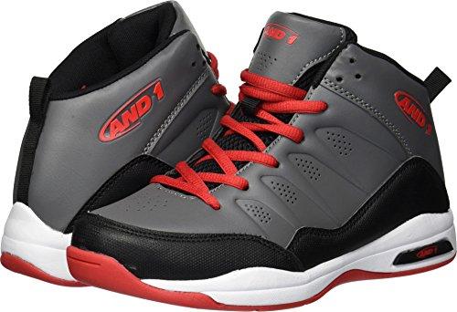 AND1 Boys' Breakout Sneaker, Castle Rock/Black/Fiery Red, 3 M US Little ()