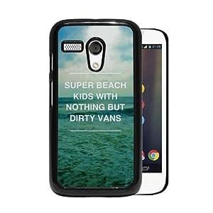 RCGrafix Brand Super Beach Kids Hipster Quote Motorola Moto G Cell Phone Protective Cover Case - Fits Motorola Moto G
