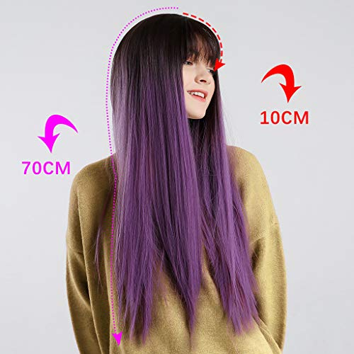 (Women's Silky Long Straight Purple Wig Heat Resistant Synthetic Bangs Hair)