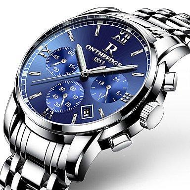 Herrklockor, herr lyx guld armbandsur man märke klockor kvarts man klockor vattentätt rostfritt stål mode affärer lysande kalender BLÅ
