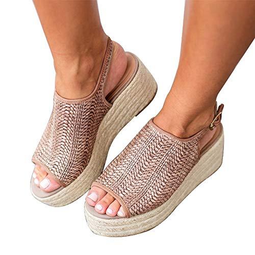XMWEALTHY Women's Espadrilles Sandals Shoes Fashion Peep Toe Platform Wedge Ankle Strap Slingback Sandals Oatmeal US 6.5