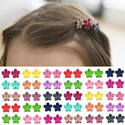 Girls Mixed Color Flowers Hair Clips Mini Hairpins for Kids Baby Hair Claws