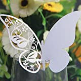 Kuke 50 Pcs Elegant Pearlescent Art Paper Material Butterfly Shape Wedding Place Name Card Wine Glass Cards (White)