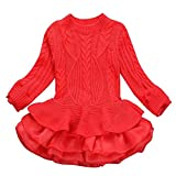 Minshao Kids Girls Knitted Winter Pullovers Crochet Tutu Dress Tops Clothes Sweater For 3-7 Years Old (Red, 3T(0-3 Years Old))