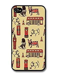 AMAF ? Accessories British Pug Pattern London Big Bang case for iPhone 4 4S