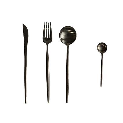 Jinsen Stainless Steel Flatware Set For Home Kitchen Restaurant Hotel (Matt  Black)