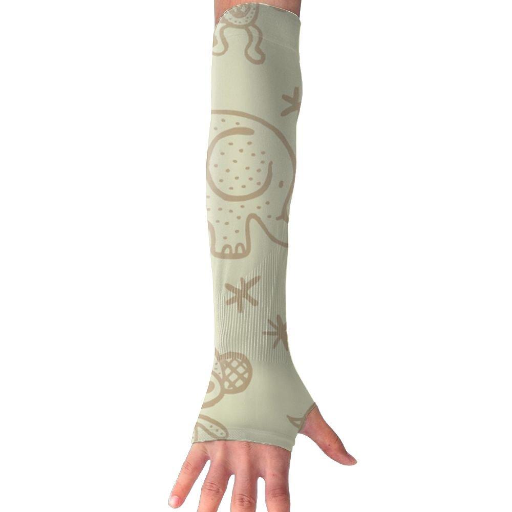 Unisex Outside Athletic Hand Cover Cooling UV Protection Arm Sleeves - 1 Pair, Elephant Monkey Zebra