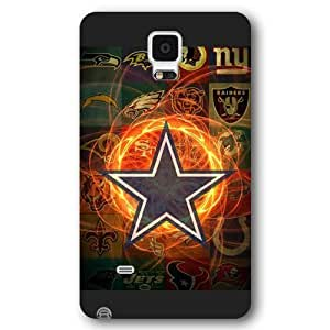UniqueBox Customized NFL Series Case for Samsung Galaxy Note 4, NFL Team Dallas Cowboys Logo Samsung Galaxy Note 4 Case, Only Fit for Samsung Galaxy Note 4 (Black Frosted Shell)