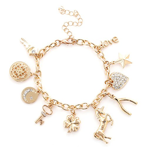 Gold Unicorn Charm - ALEXY Women's Charm Bracelet Polished Unicorn Star Clover Drops Rhinestone Paved Heart Pendant Bangle Bracelets (Gold)