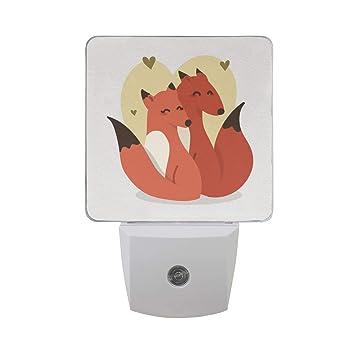 Amazon.com: Mr.XZY Night Light Fox Couple Love Heart Q Version Style