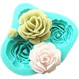 Pard 4 Size Roses Flower Silicone Cake Mold Chocolate Sugarcraft Decorating Fondant Fimo Tool, Blue