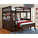 NE Kids Highlands Twin Loft Bed with Desk in Espresso