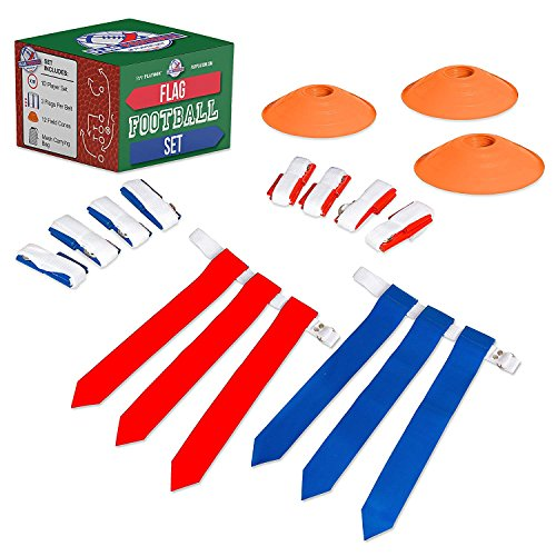 10 Player Flag Football Deluxe Set - 10 Belts, 30 Flags, 12 Cones & 1 Mesh Carrying Bag for Flag Football
