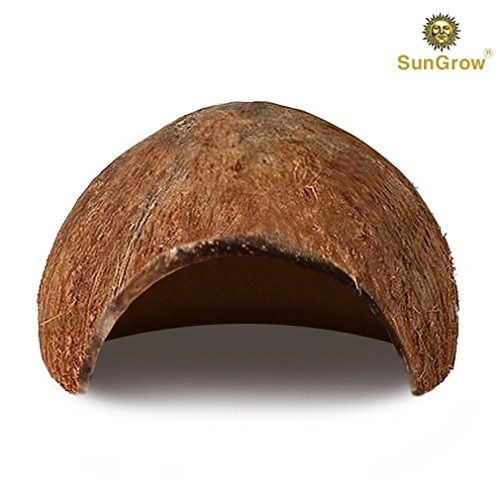 Coconut Shell Half (SunGrow Natural Coco Hut - Eco Friendly, Non-Toxic, Made Real Coconut : Smooth Edges, Comfortable & Cute Hideout: Snag-Free Surface to Keep Fish, Snail Other Pets Safe: Perfect Breeding)