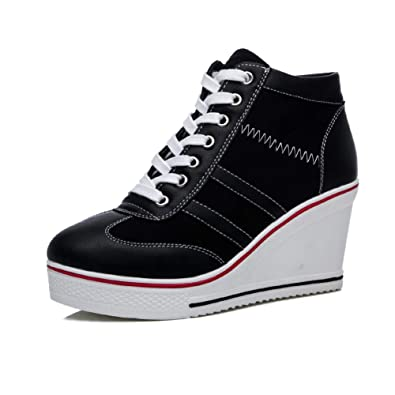 4d608bc6718a Richea Womens Casual Platform High Top Wedge Heel Side Zipper Canvas Shoes Lace  up Fashion Pump