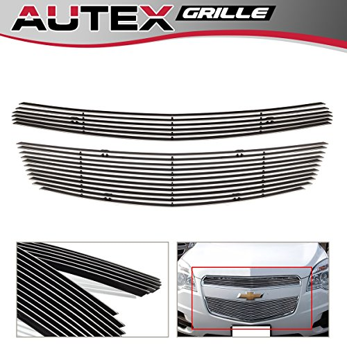 AUTEX 2pcs Horizontal Main Upper Billet Grille Insert Compatible with 2010 2011 2012 2013 2014 2015 Chevy Equinox Grill Polished Aluminum C66738A