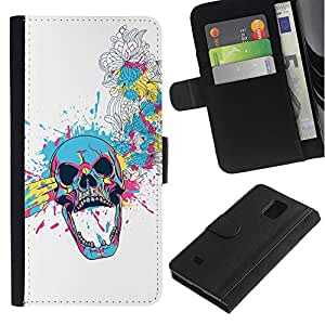 All Phone Most Case / Oferta Especial Cáscara Funda de cuero Monedero Cubierta de proteccion Caso / Wallet Case for Samsung Galaxy Note 4 IV // Floral Skull Blast