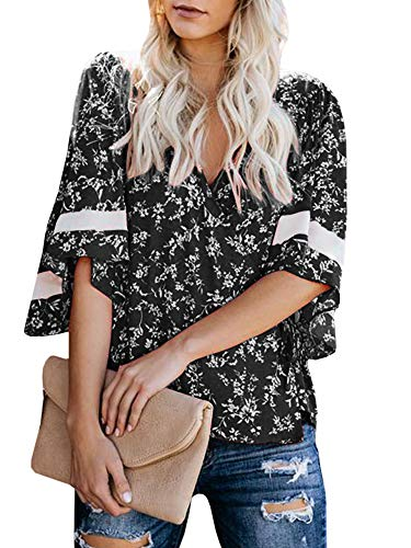 Womens 3/4 Bell Sleeve Floral Tops V Neck Wrap Chiffon Blouse Casual Loose Shirts Black