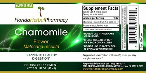 Florida Herbal Pharmacy, Alcohol – FREE Chamomile Matricaria recutita Tincture Extract 2 oz.